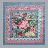 1970s Pre-Printed Quilt Fabric Cheater Quilt Roses