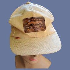 Rare 1970s Levi Strauss Baseball Cap Leather Patch