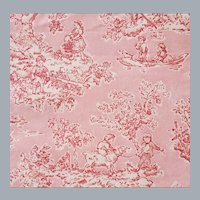 Pink Toile Cotton Fabric Country Pastoral Scene
