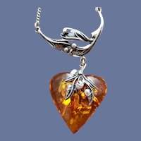 Amber Heart Necklace Art Nouveau Style Sterling Silver