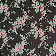 1930s Vintage Cotton Sewing Fabric Pink Black
