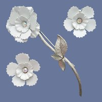 1960s Enameled Metal Brooch Earrings White Silver
