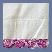 Vintage Pillowcase Purple Tatted Lace on Cotton Tubing
