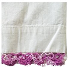 Vintage Pillowcase Purple Tatted Lace on Tubing