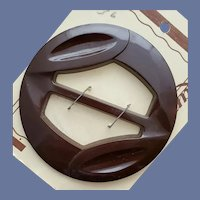 Carved Brown Bakelite Belt Buckle Slide 1940s