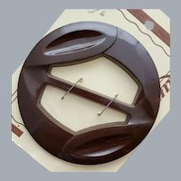 Carved Brown Bakelite Belt Slide Sewing Notion 1940s