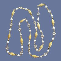 Necklace Bezel Set Crystals Faux Pearls