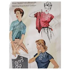 Vintage Sewing Pattern Beaded Blouse Sweater Small