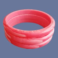 Three Vintage Bangle Bracelets  Pink Marbled Lucite