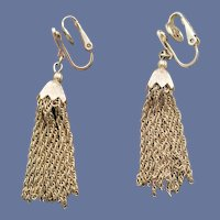 1960s Crown Trifari Earrings Metal Fringed Tassels MCM