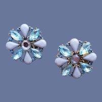 1960s Rhinestone Clip Earrings Blue Periwinkle