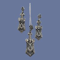 .925 Art Deco Necklace Earrings Marcasite Sets