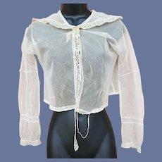Sheer Net and Lace Bolero Blouse 1910 Small
