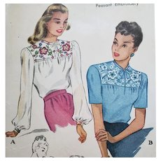 1940s Blouse Sewing Pattern w/ Transfers Small