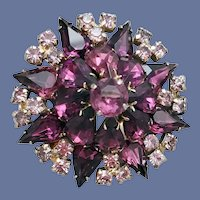 Large Purple Domed 1960s Rhinestone Brooch