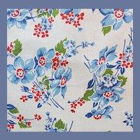 1930s Cotton Flour Sack Blue Flowers