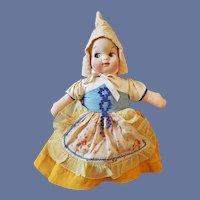 13 Inch Cloth Face Dutch Girl Doll 1940s