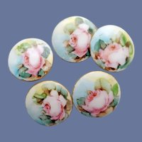 5 Victorian Hand Painted Porcelain Buttons Roses