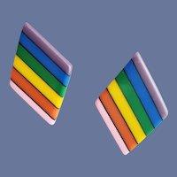 1970s Rainbow Lucite Pierced Earrings