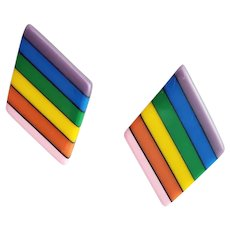 1970s Rainbow Lucite Pierced Earrings