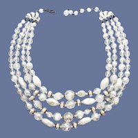 4 Strand Necklace Beautiful Beads 1960s