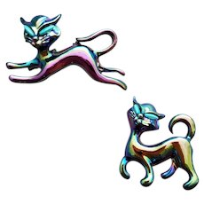 1960s Cat Scatter Pins Anodized Metal MCM