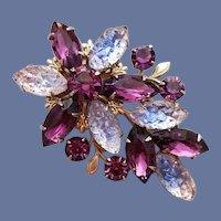 Graceful Rhinestone Brooch Purple Blue Clear