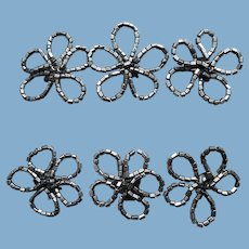 6 Glass Beaded Millinery Flowers 1940s