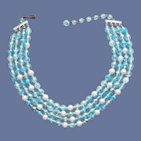 Crystal Bead Necklace Blue Givre' Faux Pearls