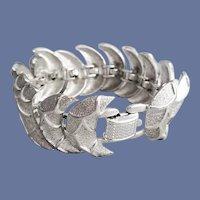 Coro Silver Tone Link Bracelet Mid Century Modern