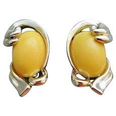 1960s Coro Clip Earrings Sunny Yellow Lucite Discs