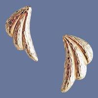 14k Yellow Gold Pierced Earrings Wings