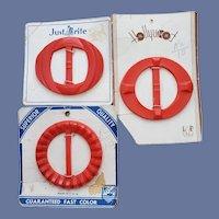 1940s Belt Slides / Buckles Bright Red MOC