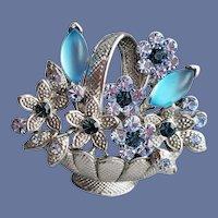 Rhinestone Brooch Basket of Blue Flowers