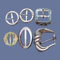 6 Art Deco Belt Buckles or Slides