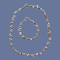 Real Pearl Necklace with Bracelet Lush Colors