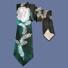 1950s Wide Rayon Necktie Hollyvogue MCM