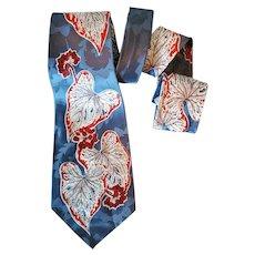 1950s Rayon Jacquard Necktie Mid Century Fashion