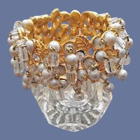 1960s Crystal and Rhinestone Clamper Bracelet