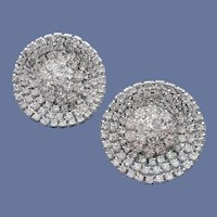 1960s Rhinestone Earrings Domed Cluster in Saucer