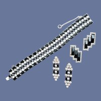 1960s Rhinestone Parure Bracelet and Earrings