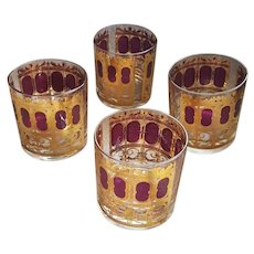 4 Culver Cocktail Tumblers 22 k Gold 1960s