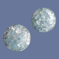 1950s Earrings White Confetti Captured in Blue