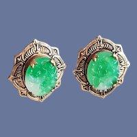 1930s Peking Glass Earrings Faux Carved Jade