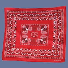Vintage 1970s Cotton Bandana Scarf Red Black White