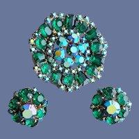 Rhinestone Parure Emerald Green Big Brooch Earrings