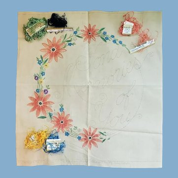 1920s Embroidery Pillow Top With Vintage Thread