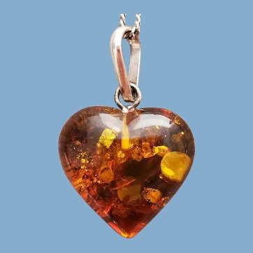 Baltic Amber Necklace Heart Shaped Pendant