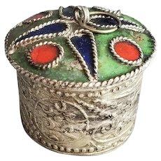 Metal and Enamel Cosmetic Jar Hand Made
