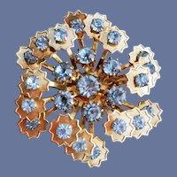 Vintage Brooch Blue Rhinestone Spiral Stars